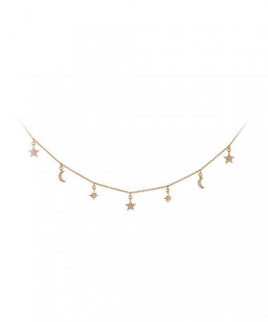 Unike Jewellery Mix and Match Moon and Stars Joia Colar Mulher UK.CL.1204.0104
